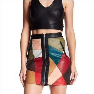 BCBGeneration Vegan Leather Patchwork Skirt
